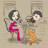 Loving couple in cafe at table and funny cat