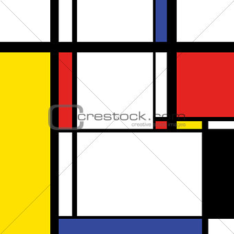 Modern painting in mondrian style, square illustration