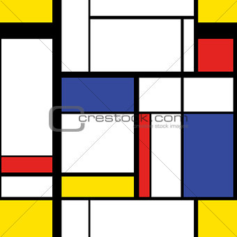 Modern painting in mondrian style, seamless pattern