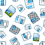 File icons with extensions on white, seamless pattern