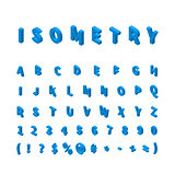 Blue isometric font isolated on white
