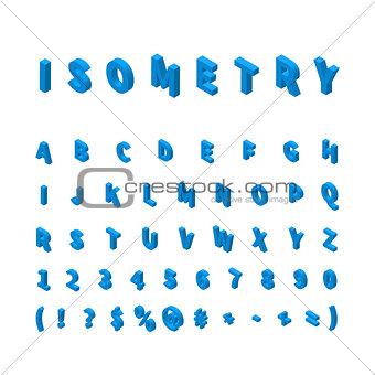 Blue isometric font isolated on white