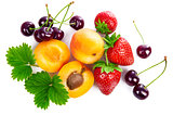 Fresh berries and fruits in still life, top view