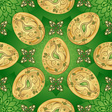 Easter seamless green pattern with golden eggs