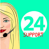 Round-the-clock telephone support. Woman dispatcher. Vector illustration