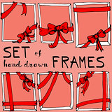 Hand drawn frame. Bow and ribbon border