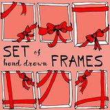 Hand drawn frame. Bow and ribbon border