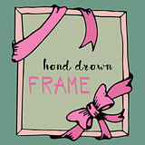 Hand drawn frame. Pink bow and ribbon border