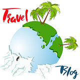 Globe earth with hand lettering phrase. Vector calligraphic Travel blog lettering. Vector background