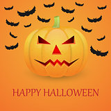 Halloween background with pumpkin and flying bat.
