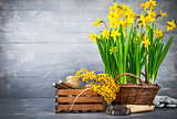 Bunch yellow narcissus in wattled basket