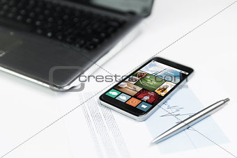 close up of smartphone with news application