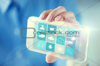 close up of woman with transparent smartphone menu