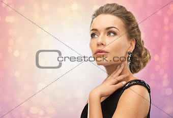 beautiful woman with diamond earrings