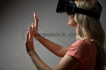 close up of woman in virtual reality headset