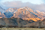 Sunrise on Mt. Whitney and the Sierra Nevada Mountains. Long Pine, California, USA