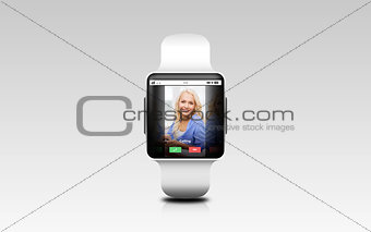 close up of smart watch with incoming call