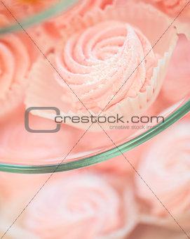 close up of sweet custard dessert on serving tray
