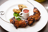 Pork shashlik with grilled potatoes