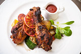 Glazed chicken with grilled vegetables
