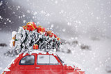 3D Rendering xmas  car travel