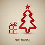 Christmas card with folded red paper tree template
