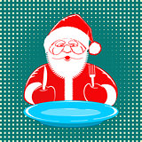 Santa Claus comic style design on dotted background