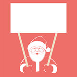 Vector of Santa Claus holding white blank, isolated