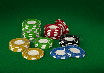 Casino chips 3D on green velvet