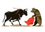 Bear and Bull at the Bullfighting