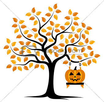 autumn tree and halloween pumpkin