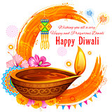 Burning diya on Happy Diwali Holiday watercolor background for light festival of India