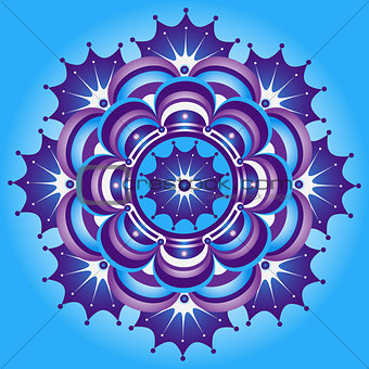 Blue and violet vintage round pattern