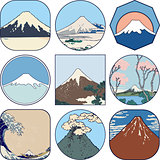Set of picturesque sketches of Mount Fuji