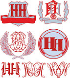 Set of HH monograms and emblem templates