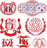 Set of KK monograms and emblem templates