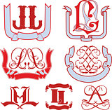 Set of LL monograms and emblem templates