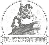Sticker with Bronze Horseman monument in St. Petersburg
