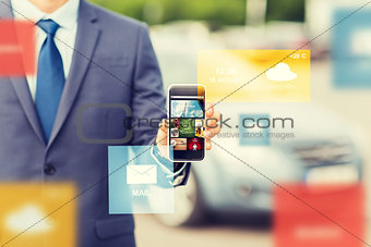 close up of business man with smartphone media