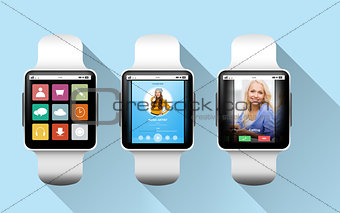 close up of black smart watches with applications