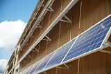 solar battery panels on building facade