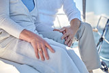 close up of senior couple on sail boat or yacht