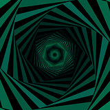 Digital whirling green hexagonal forms