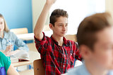 happy student boy raising hand at school lesson