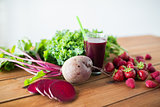 glass of beetroot juice, fruits and vegetables