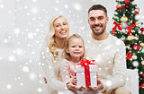 happy family at home with christmas gift box