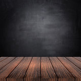 3D wooden table against a chalkboard background