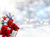 3D Christmas gifts in snowy landscape