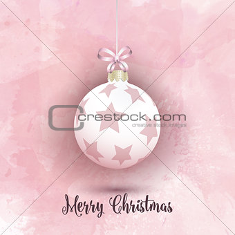 Christmas bauble on a pink watercolor background