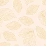 Seamless pattern with hand drawn rose leafs.